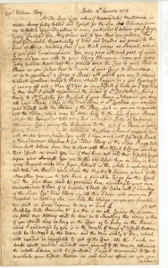 Letter: Boston 14th January 1759