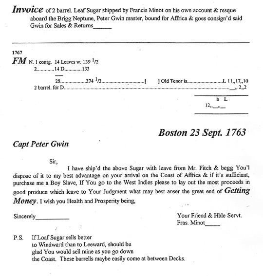 Invoice and letters from Frans. Minot and William Sader, Transcription