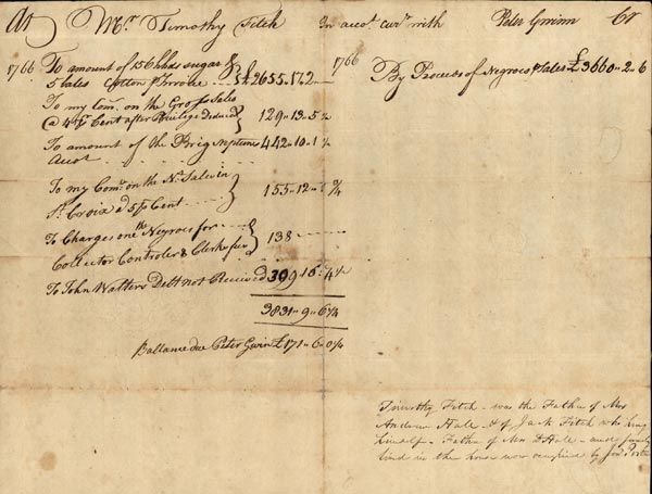 account  invoice for sale of slaves
